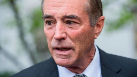 Rep. Chris Collins, R-N.Y., talks with reporters after a meeting of the GOP Conference at the Capitol Hill Club on April 17, 2018. Tom Williams/CQ Roll Call/AP