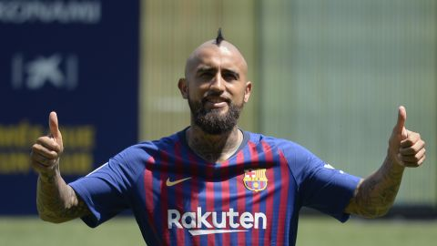 """Chilean midfielder Arturo Vidal joined Barca from Bayern Munich on a three-year deal for an undisclosed fee. """"I've come here to bring a lot of energy on to the pitch. Joining Barca is a step up for me,"""" said the 31-year-old."""