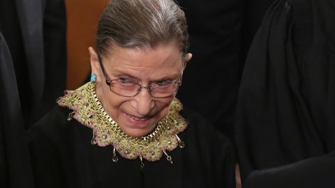 Supreme Court Associate Justice Ruth Bader Ginsburg attends President Barack Obama's State of the Union speech before a joint session of Congress at the U.S. Capitol February 12, 2013 in Washington, DC.