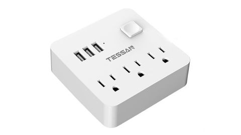 """<strong>Power Strip - 3 USB and 3 Outlets ($16.99; </strong><a href=""""https://amzn.to/2vwRQWk"""" target=""""_blank"""" target=""""_blank""""><strong>amazon.com</strong></a><strong>)</strong>"""