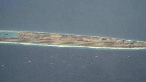 A Chinese-controlled artificial island in the Spratly Island chain is seen in the South China Sea, as viewed by CNN from a US reconnaissance plane on August 10.
