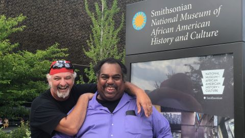 Daryl Davis and Richard Preston outside the National Museum of African American History and Culture.