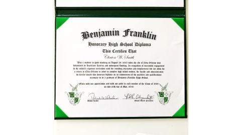 Clint Smith received an honorary diploma from Benjamin Franklin High School in New Orleans 12 years after evacuating the city because of Hurricane Katrina.