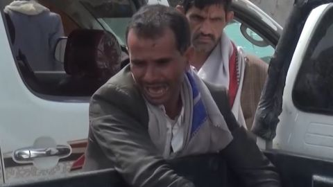 The emotional aftermath of the Saudi-led coalition airstrike in Yemen has emerged in Houthi videos.