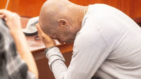 Dewayne Johnson reacts after hearing the verdict in a California superior court.