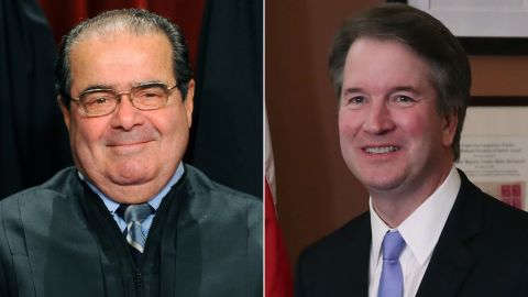 """At left, the late Supreme Court Justice Antonin Scalia. At right, President Donald Trump's pick to be the next Supreme Court Justice, appeals court judge Brett Kavanaugh, who called Scalia, """"an apostle of restraint and an apostle of engagement."""""""