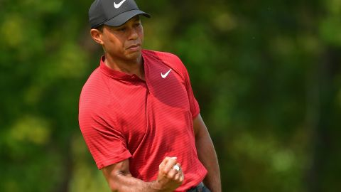 Tiger Woods birdies the ninth in his final round charge at the PGA Championship in St Louis, Missouri.