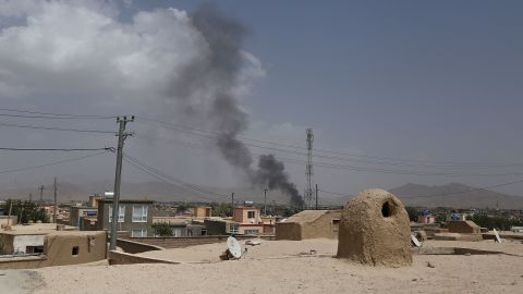 Smoke is seen rising into the air after Taliban militants launched an attack on the Afghan provincial capital of Ghazni on Friday.