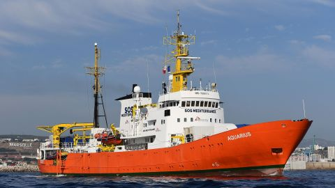 The rescue ship Aquarius is one of several NGO vessels that could be affected by the decree.