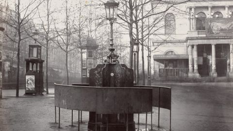 Public urinal in Paris, circa 1875.