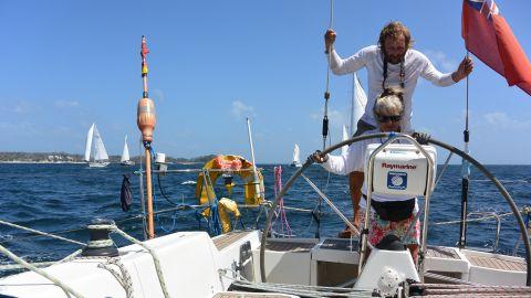 "Helen and Chris Tibbs aboard ""Taistealai,"" their 40-foot Wauquiez Centurion yacht. The British couple took a career break of a year to sail the World ARC in 2017."