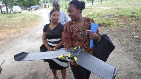 """Community-based project <a href=""""http://ramanihuria.org/"""" target=""""_blank"""" target=""""_blank"""">Ramani Huria</a> uses drones to capture high resolution imagery of previously unmapped areas in Dar es Salaam, Tanzania."""