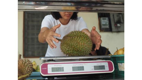 """<strong>On the nose:</strong> """"The typical stinky egg and onion sulfur smell comes out in later stages of ripeness and, often, the smell wafting up and down streets is really the rotting shells,"""" she adds. """"Really, fresh durian smells mild and gassy like fresh grass."""""""
