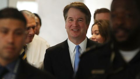 WASHINGTON, DC - AUGUST 15:  Supreme Court Justice nominee Judge Brett Kavanaugh walks to a meeting with Se. Joe Donnelly (R-IN) on August 15, 2018 in Washington, DC. Kavanaugh is meeting with members of the Senate after U.S. President Donald Trump nominated him to succeed retiring Supreme Court Associate Justice Anthony Kennedy.  (Photo by Mark Wilson/Getty Images)