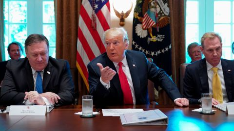 US President Donald Trump speaks as US Secretary of State Mike Pompeo (L) and US Deputy Secretary of Defense Patrick M. Shanahan look on during a cabinet meeting in the Cabinet Room of the White House on August 16, 2018 in Washington, DC. (Photo by Mandel NGAN / AFP)        (Photo credit should read MANDEL NGAN/AFP/Getty Images)