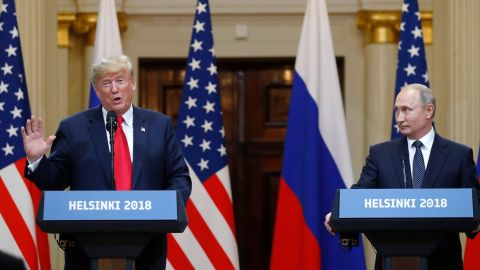 U.S. President Donald Trump, left, speaks beside Russian President Vladimir Putin during a press conference after their meeting at the Presidential Palace in Helsinki, Finland, Monday, July 16, 2018. (AP Photo/Alexander Zemlianichenko)