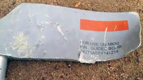 Munitions experts confirmed that the numbers on this piece of shrapnel confirmed that Lockheed Martin was its maker and that this particular MK 82 was a Paveway laser-guided bomb.