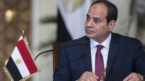 Egyptian President Abdel Fattah al-Sisi attends a press conference at the presidential palace in the capital Cairo on December 11, 2017.