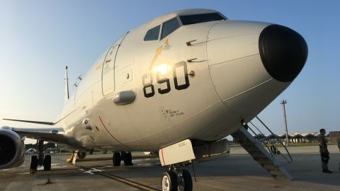 At Kadena Air Base in Okinawa, a US Navy P-8A Poseidon gets ready for a mission over the South China Sea on Aug. 10, 2018