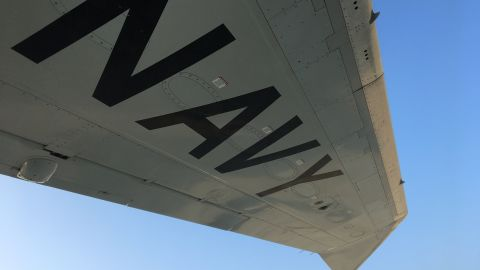The wing of a US Navy P-8A Poseidon.