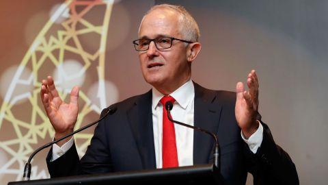 MELBOURNE, AUSTRALIA - JUNE 26: Malcolm Turnbull, Prime Minister of Australia addresses the crowd during the Bachar Houli Programs 2017 AFL Eid Celebration at Punt Road Oval on June 26, 2017 in Melbourne, Australia. (Photo by Adam Trafford/AFL Media/Getty Images)