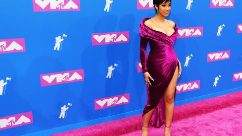 Cardi B walks the red carpet before the MTV Video Music Awards on Monday, August 20. The rapper had the most nominations this year.