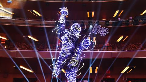 The MTV Moon Person Satue inside Radio City Music Hall for 2018 MTV Video Music Awards Press Junket on August 17, 2018 in New York City.