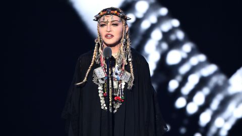 Madonna speaks onstage during the 2018 MTV Video Music Awards.