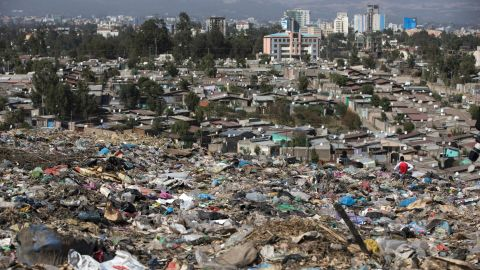 A view of Addis Ababa from Koshe -- the main landfill on the outskirts of the city.