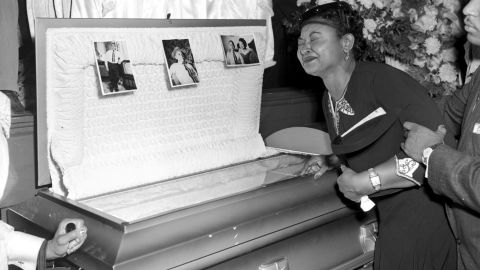 Mamie Till Mobley weeps at her son's funeral on Sept. 6, 1955, in Chicago. (AP Photo/Chicago Sun-Times)