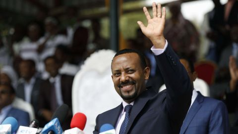 New Ethiopian Prime Minister Abiy Ahmed reacts during his rally in Ambo, about 120km west of Addis Ababa, Ethiopia, on April 11, 2018. / AFP PHOTO / Zacharias Abubeker        (Photo credit should read ZACHARIAS ABUBEKER/AFP/Getty Images)
