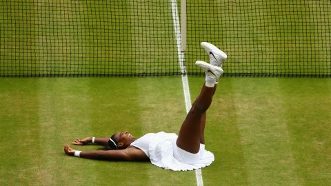 """A seventh Wimbledon title for the then world No.1 and now equal with Steffi Graf's Open era record of major titles.  """"This court definitely feels like home,"""" says Williams after her straight sets win over Angelique Kerber in 2016."""