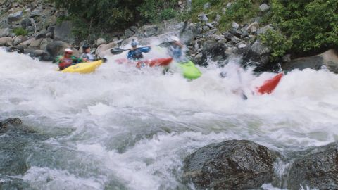 """The weekend also includes a popular """"boatercross"""" (a kayak version of motocross) on the Payette in which five heats of six paddlers compete head-to-head and try not to collide before reaching the finish line."""