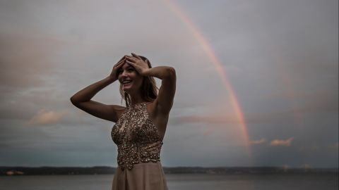 A rainbow appears over the Hudson River shortly after Cara Pressman's Sweet 16 birthday party began. Cara became a viral sensation late last year after Aetna denied her a minimally invasive brain surgery to stop her seizures. She finally got the surgery in July, fully covered by Aetna.