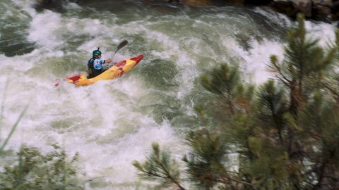 The slalom course is a kilometer of class V-plus rapids on the North Fork of the Payette River called Jacob's Ladder.