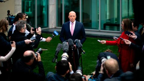 Australia's former home affairs minister, Peter Dutton, faces the media at a press conference in Canberra on August 21, 2018. - Embattled Australian Prime Minister Malcolm Turnbull narrowly survived a leadership challenge from within his own party on August 21 as discontent with his rule boiled over less than a year before national elections. Turnbull declared his position vacant at a Liberal party meeting to force the issue after rampant speculation that the more hardline Home Affairs Minister Peter Dutton wanted his job, with the government trailing the Labor opposition in opinion polls. (Photo by SEAN DAVEY / AFP)        (Photo credit should read SEAN DAVEY/AFP/Getty Images)