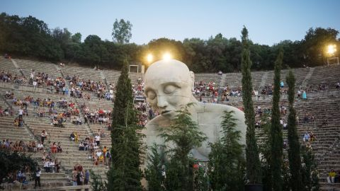 """<strong>Athens, Greece:</strong> A giant statue of Oedipus is featured in the performance of Sophocles' """"Oedipus at Colonus."""" It's part of the 2018 Athens and Epidaurus Festival, held this year in August. <br />"""