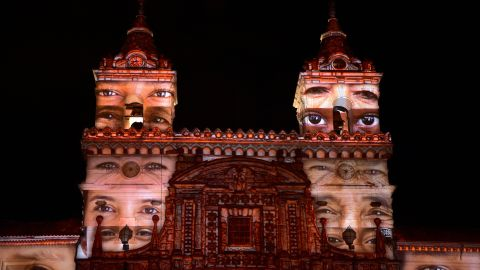 """<strong>Quito, Ecuador: </strong>French artist Laurent Langlois' work """"Heritage"""" is projected on to the San Francisco church in the historical center of Quito ahead of the town's Festival of Light, which took place this year from August 8 to 12."""