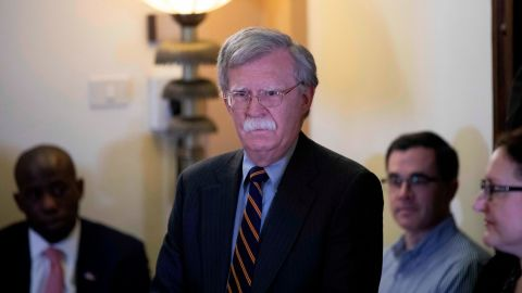 US National Security Advisor John Bolton arrives for a press conference in Jerusalem, on August 22, 2018. (Photo by ABIR SULTAN / POOL / AFP)        (Photo credit should read ABIR SULTAN/AFP/Getty Images)