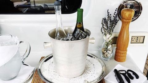 """""""Mixology is a huge part of being a stewardess,"""" Hulbert says. """"Formal wine service is very important, learning how to cut cigars and serve caviar in addition to a usual 16 option silver-service meal."""""""