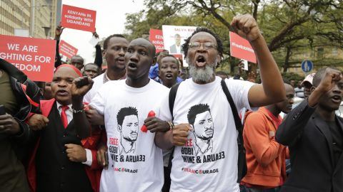 Kenyan activists and civil society groups protest in solidarity with the Ugandan pop star-turned-lawmaker.