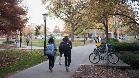 COLUMBIA, MO - NOVEMBER 10: Students walk along on the campus of University of Missouri - Columbia on November 10, 2015 in Columbia, Missouri. The university looks to get things back to normal after the recent protests on campus that lead to the resignation of the school's President and Chancellor on November 9. (Photo by Michael B. Thomas/Getty Images)