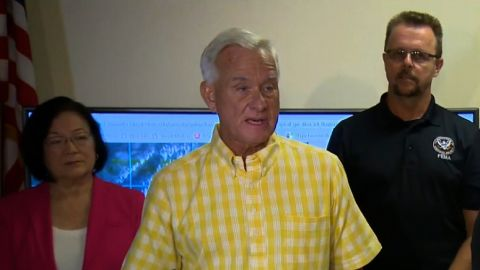 Honolulu Mayor Kirk Caldwell speaks at a press conference on August 23, 2018 ahead of Hurricane Lane.