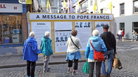 23 August, 2018 An art Installation by Mannix Flynn in Dublin City centre ahead of the Popes visit to Ireland. (Photo by Niall Carson/PA Images via Getty Images)