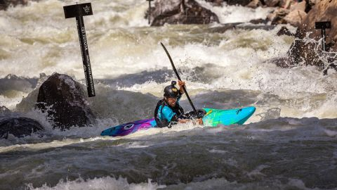 The slalom course is a series of seven gates (PVC piping hanging from overhanging wires) that the athletes must go around. If they miss one, it's a 50-second penalty.