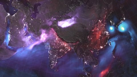 The composite images also feature night light data to show highly populated areas.
