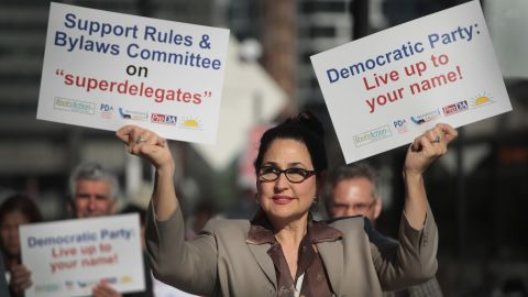 CHICAGO, IL - AUGUST 23:  Demonstrators protest outside the Hyatt Hotel where the Democratic National Committee (DNC) were kicking off their summer meeting on August 23, 2018 in Chicago, Illinois. The demonstrators were protesting the use of superdelegates by the Democratic party, which is one of the issues to be addressed at the meeting. During the meeting the DNC is also expected to address other issues of concern in their presidential nominating process as well as lay out plans for getting out the vote during the mid-term election and taking steps toward picking a city to host the 2020 convention.  (Photo by Scott Olson/Getty Images)