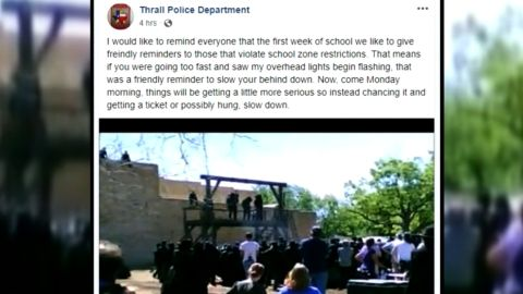 Facebook post by Thrall Police Chief Whitney Whitworth.