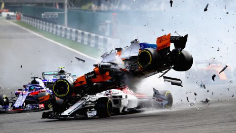 Fernando Alonso's car was launched over the top of Charles Leclerc on the opening corner of the Belgian Grand Prix. Sebastian Vettel went on to win at Spa to cut Lewis Hamilton's lead at the top of the Driver Standings to 17 points.