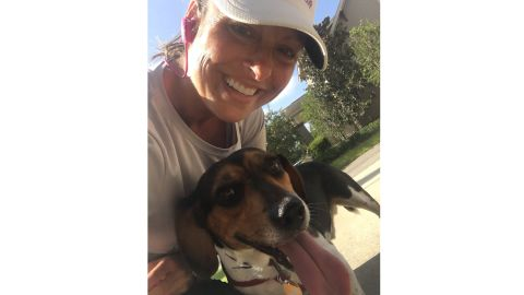 Wendi Cannon and her running companion.